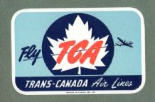 VintageAirline label TCA Trans canada luggage label #649